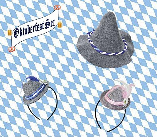 Preisvergleich Produktbild Oktoberfest Set, 3-tlg., blau-weiß, Wiesn, Gaudi, Volksfest, Bayern, verschie...