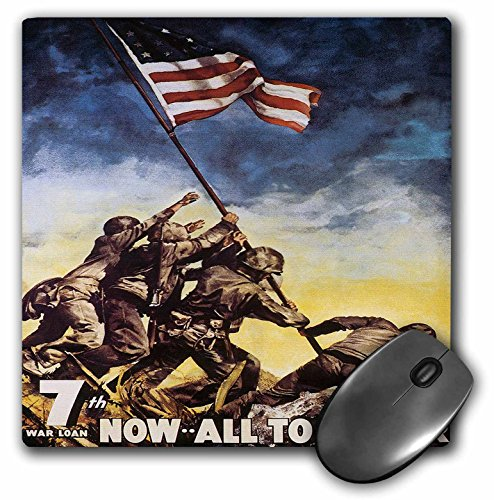 3dRose Vintage 7th War Loan Now All Together Soldiers Poster - Mouse Pad, 8 by 8 inches (mp_149439_1)