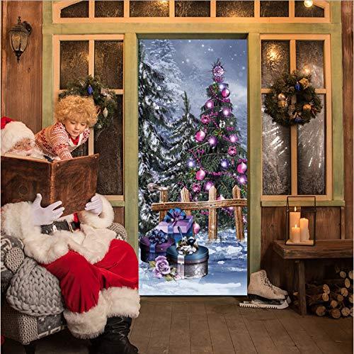 Preisvergleich Produktbild YS753 Christmas Colorful Tree Door Sticker Home Decoration PVC Waterproof Mural Decal for Living Room 3D DIY Adhesive Poster 77X200Cm
