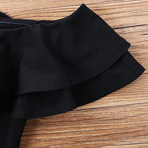 Sexy Donna Camicia Senza Spalle e Elegante Gonne Corte Two Piece Set Top con Spalla Scoperte Vestiti con Pizzi Estate Moda Abiti a Vita Alta Giallo Bianco ARANCIA