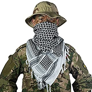 OneTigris Unisex Kufiya/Palästinensertuch, Kopftuch aus Baumwolle, Herren Damen, schwarz, approx 110x 110cm