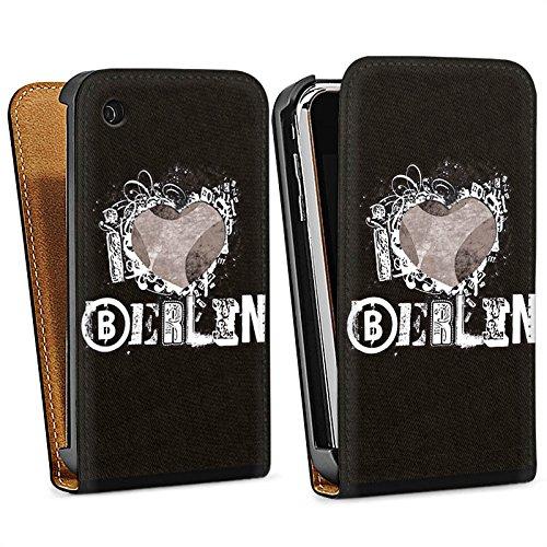 Apple iPhone 5s Housse Étui Protection Coque J'aime Berlin C½ur Amour Sac Downflip noir