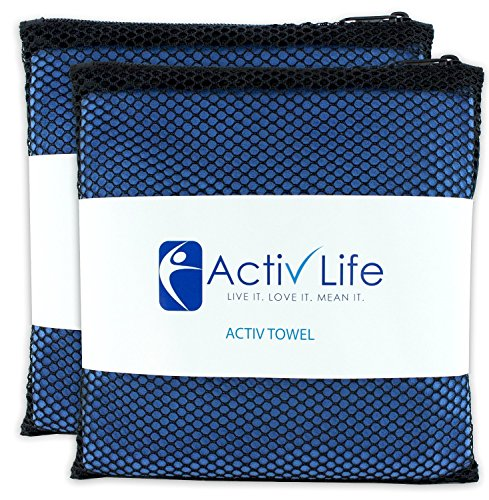 ACTIV Life Microsuede Gym Handtücher für Herren & Frauen Athleten, Camping & Reisen, weicher saugfähig schnell trocknend Handtuch Hand & Face Mikrofaser mit Mesh Aufbewahrungstasche & Loop für schnelles Trocknen Aufhängen, 2Stück