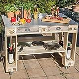 Palettenmöbel Grill-Tisch Captain Cook Basic, Neuholz gebeizt in klassischer Paletten Optik, jedes Teil ist einzigartig und Wird in Deutschland in Handarbeit gefertigt