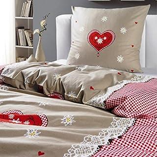 Alpenglück Flanell Winterbettwäsche 135x200 cm 80x80 cm 100% flauchige Baumwolle Farbe Beige Rot
