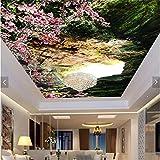 ShAH Große Individuelle Tapeten In Warmen Frisch Und Schön Pfirsich Loch Dreidimensionale Decke Decke Fresken 3D Tapete Hintergrundbild Wallpaper Wandmalerei Fresko Mural 150cmX100cm