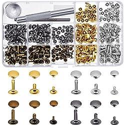 180Lot de 3tailles Cuir rivets Unique Cap Rivet clous en métal tubulaire avec 3pièces de fixation Outil pour DIY Artisanat du cuir rivets de remplacement, 4couleurs Or, Argent, Bronze, Bronze