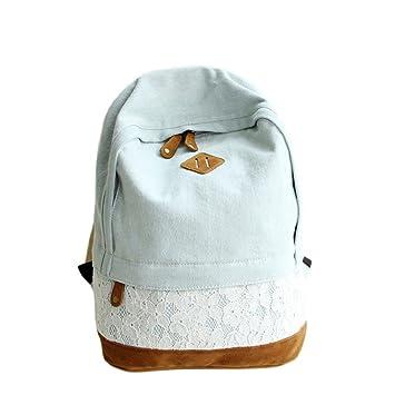 Vovotrade Women Girls Fashion Lace Denim Canvas Backpack Schoolbag ...