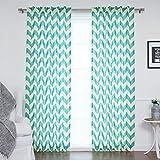 #8: Dekor World Sheer Blue Chavron Printed Rod Curtain Set (Pack of 2)-110x275cm (4x9Feet) Long Door Curtain