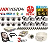 Hikvision 16 Ch Turbo HD Dvr and Mersk Full HD (3MP) CCTV Camera Kit with All Required Accessories (2 TB Hard Disk) Note : No Installation Service