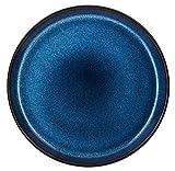F&H Bitz - Teller/Kuchenteller / Dessertteller - Steingut - Ø 21 cm - blau/dunkelblau