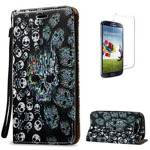 Samsung Galaxy S3 i9300 PU-Leder Etui [mit Frei Displayschutz] Funkeln 3D Bewirken Dekorativ Muster Prämie Synthetik PU-Leder Brieftasche Entwurf mit Kartenhalter Slot und Trageschlaufe Buchstil Folio Flip Stark Magnetisch Schließung (Beängstigend Passt)