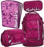 satch pack Purple Leaves 4er Set Rucksack, Sporttasche, Schlamperbox & Heftebox Lila