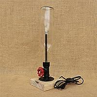 BJVB Vetro creativo metallo industriale moderna lampada da tavolo Base legno tinta per notte luce camera da letto comodino lampada sfumature lampade di illuminazione interna