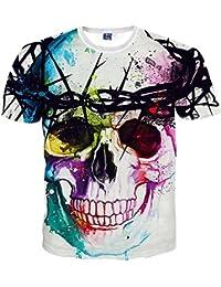 Yonbii Nouveau mode Femmes Hommes Crâne 3D Imprimé à manches courtes T-shirt d'été