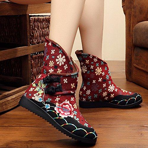 Bonbonne De Vieux Du KHSKX La Beijing four Chaussures Tissu Et Seule LAutomne Thirty Haut Bas Bottes Éolienne Talons Bottes Brodé À De Bottes Bottines HqqxfU