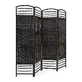 Relaxdays Paravent 4 Panneaux protège de la lumière séparateur pièce cloison Mur délimiter HLP 179 x 180 x 2 cm Environ Pliant Pliable Bois Bambou, Noir
