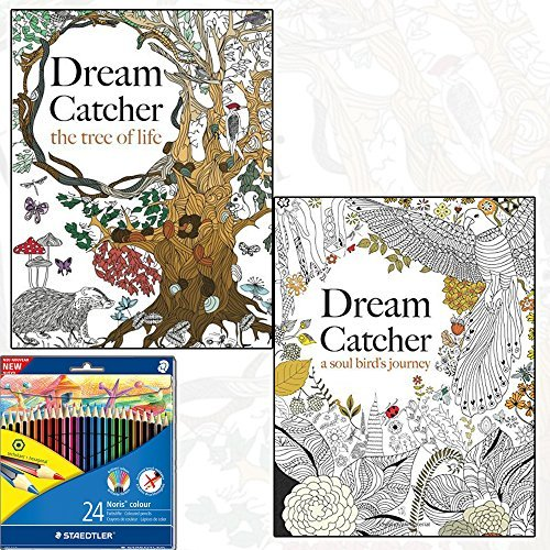 Dream Catcher: A Soul Bird's Journey & the Tree of Life Stress Relief Art Therapy Colouring 2 Book Collection with Staedtler 24 Colour Pencil Pack by Christina Rose (2015-05-01)