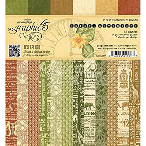 Graphic 45 Double Sided Paper Pad 6-Inch x 6-Inch 3Safari