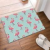 cdhbh Birds Pink Flamingo auf Mint Ananas Hintergrund Bad Teppich Rutschfest Boden Eingänge Outdoor Innen Vorne Fußmatte, 60x 40cm Badvorleger Badematte Bad Teppiche