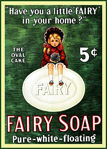 World of Art Vintage Barbershop amp; Salon FAIRY SOAP. HAVE YOU A LITTLE FAIRY AT HOME? c1916 250gsm Gloss Art Card A3 Reproduction Poster