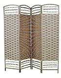 Biombo de Bambú y papel trenzado, color marrón chocolate y natural, montado sobre bastidores de madera (180x180x2)