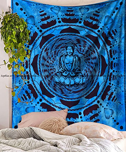 uddha Yoga Tapisserie meditierend Yoga Artwork Dekoration für Schlafzimmer Wohnheim Decor Art Indischen Psychedelic klein Baumwolle Bedruckt Hippie Wohnzimmer Gobelin ()