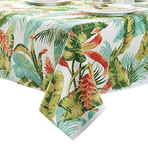 Z-one Tropische blätter Tischdecken Baumwolle, Staubdicht Waschbar Tischtuch schutzfolie Folie Floral Bedruckt Tabelle Tuch Für Wohnküche-A 140x180cm(55x71inch)
