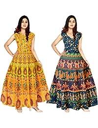 JWF Women 100% Cotton Multicolor Dress (Combo of 2 pcs)