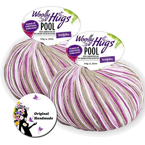 WOOLLY HUGS POOL 80 - Geschenke-Set: 2 Knäuel a 100g, 60% Organic Cotton,40% Cotton + DIY Geschenk Button