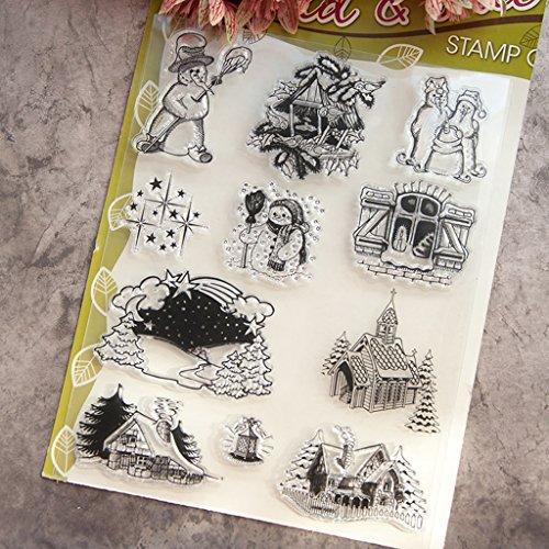 Cold Toy Klar Stempel Silikon Siegel für Scrapbook Tagebuch Album Foto T1038 Winter Schneemann - Einen Man Schneemann Wie
