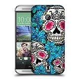Head Case Designs Blau Blühende Totenköpfe Ruckseite Hülle für HTC One M8 / M8 Dual Sim