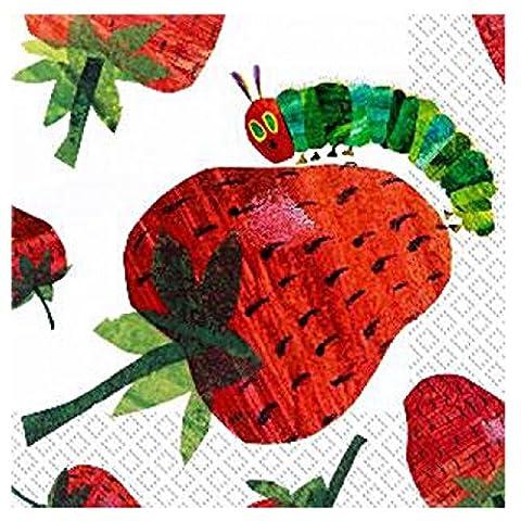 erdbeerloft - Party Dekoration- Raupe Nimmersatt Servietten, 3-lagig, 20 Stück, Rot