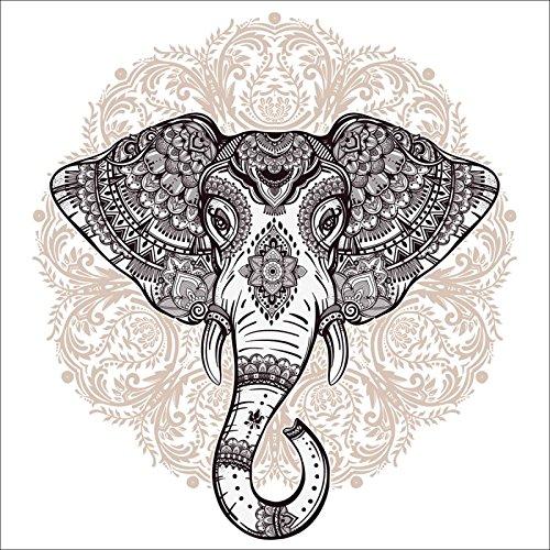 Digital Verzierungen (Artland Wandbilder selbstklebend aus Vliesstoff oder Vinyl-Folie Katja Gerasimova Vintage Mandala Elefant Tiere Wildtiere Elefant Digitale Kunst Weiß C4TX)