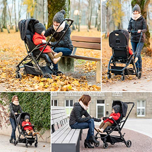 Hoco Buggy Reverse - Ultra Lightweight Stroller with Reversible Seat | Folds Up Small - Grey/Black