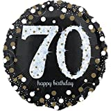 paduTec Heliumballon Zahlenballon Ballon Folienballon - Glamour 70 Jahre Alter - Happy Birthday Geburtstag Jubiläum Deko - mit Helium gefüllt