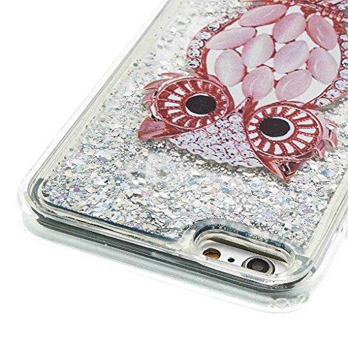 Trumpshop Smartphone Case Coque Housse Etui de Protection pour Apple iPhone 5/5s/SE/5C + Campanule + Flexible TPU 3D Liquide Paillettes Sables Mouvants avec Absorption de Choc Hibou