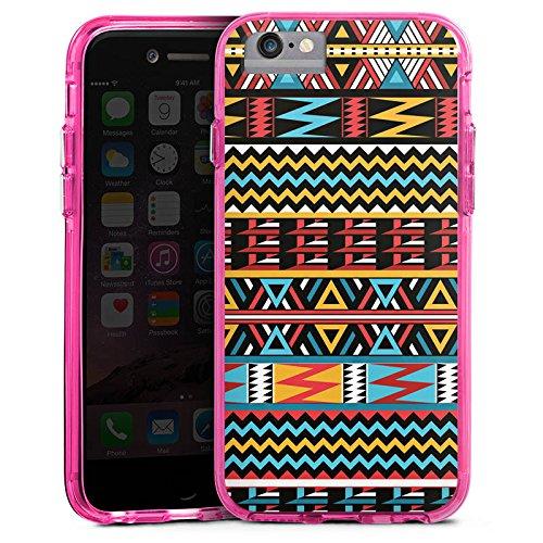Apple iPhone 6s Bumper Hülle Bumper Case Glitzer Hülle Ethno Style Muster Pattern Bumper Case transparent pink
