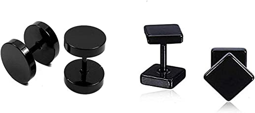 Miami Fashion Jewellery Stainless Steel Black Studs Earings for Men