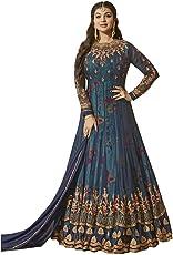 MR CROZY Women's Faux Georgette Long Anarkali Suit (Blue, Free Size)