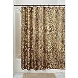 InterDesign Cheetah Cortina de baño con animal print | Cortina de ducha con estampado de leopardo | Cortinas para bañera o plato de ducha de 183 x 183 cm | Poliéster marrón