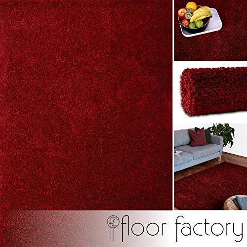 floor factory Hochflor Shaggy Teppich Colors rot/Bordeaux 120x170cm - Pflegeleichter und günstiger Langflorteppich -