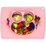 Baby Silicone Placemat, Non-Slip Feeding Plate for Toddlers Babies Kids with Strong Suction Fits Most Highchair Trays…