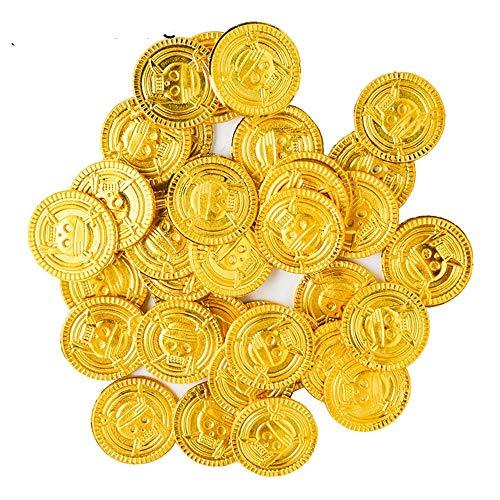 EDFVA 50 stücke Goldmünzen Pirate Treasure Spiel Halloween Spiel Geld Piraten Party Requisiten Kid Party Weihnachtsdekoration Lieferungen (Spiele, Halloween Party Kids)