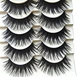 Bodhi2000 5 Pairs Black Long Thick Eyelashes Fake Cross Makeup Eye Lash Extension