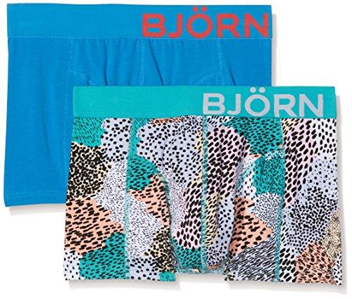 Björn Borg Herren Boxershorts 2P Shorts Bb Painted Animal, Blue (Aruba Blue), XL (Kürzer Stretch-körper)