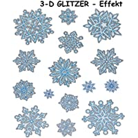 """/"""" GLITTER // GLITZER Schneekristal Weihnachten /& Winterzeit /"""" Fensterbilder"""