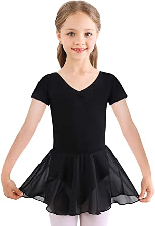 Bezioner Girls Ballet Dress Kids Gymnastics Dance Leotard Costume Dancewear With Skirt