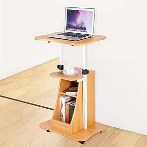 Noce Scuro Tavolo Mobile Tavolo sopra Il Letto Stand Up Laptop Desk Stand PC Notebook Carrello Vassoio Compatto Altezza Regolabile Workstation Computer Standing Desk Divano Letto Side End Table