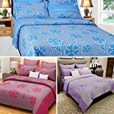 Sky Tex Super Saver Trio Of 3 Beautiful Designed Light Weighted Floral 140 TC Cotton Double Bed Sheet With 6 Pillow Covers